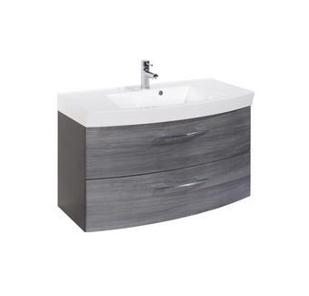 WASCHTISCHKOMBI Eichefarben - Eichefarben/Silberfarben, Design, Holzwerkstoff/Kunststoff (100/54/47cm) - Carryhome