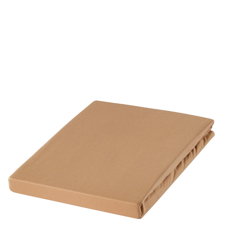 SPANNBETTTUCH Zwirn-Jersey Hellbraun bügelfrei, für Wasserbetten geeignet - Hellbraun, Basics, Textil (100/200cm) - ESTELLA