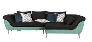 WOHNLANDSCHAFT in Textil Anthrazit, Mintgrün  - Anthrazit/Petrol, Design, Holz/Textil (313/175cm) - Carryhome