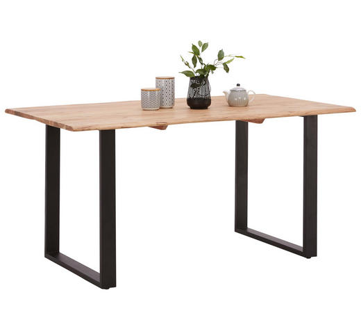 ESSTISCH in Holz, Metall 160/90/76 cm   - Schwarz/Akaziefarben, Natur, Holz/Metall (160/90/76cm) - Carryhome