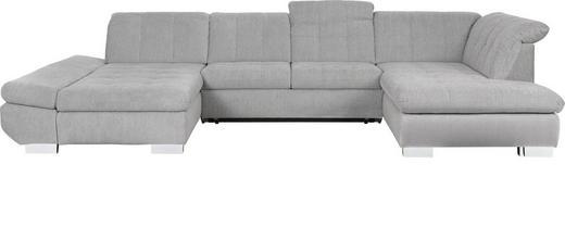 WOHNLANDSCHAFT Grau Flachgewebe - Chromfarben/Grau, Design, Kunststoff/Textil (204/350/211cm) - Xora