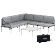 LOUNGEGARNITUR 15-teilig - Hellgrau/Alufarben, Design, Textil/Metall (210/210cm)
