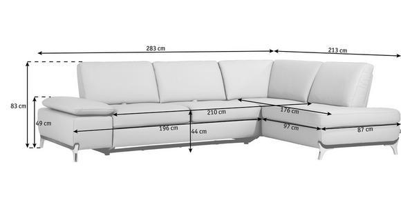WOHNLANDSCHAFT Echtleder - Gelb/Alufarben, Design, Leder/Metall (283/213cm) - DIETER KNOLL