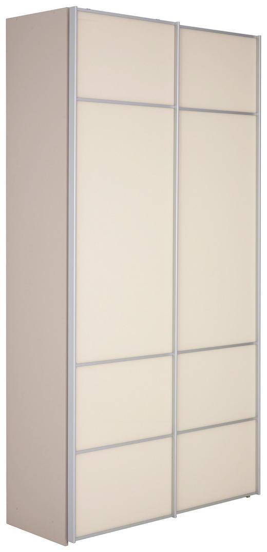 SCHWEBETÜRENSCHRANK 2-türig Creme, Sandfarben - Sandfarben/Creme, Design, Glas/Holzwerkstoff (113/222/49cm) - Moderano