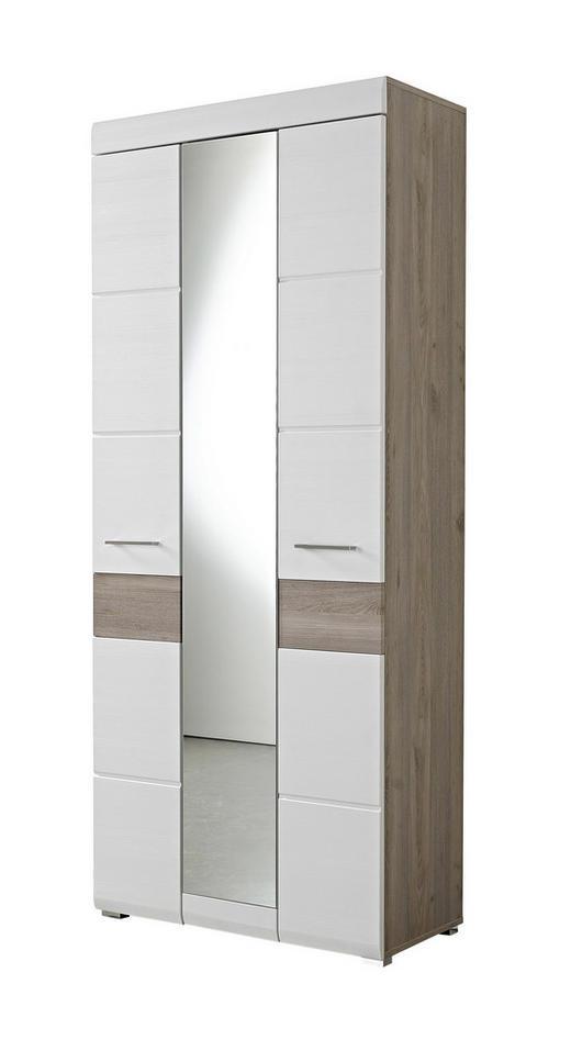 GARDEROBENSCHRANK Eiche foliert Eichefarben, Weiß - Chromfarben/Eichefarben, Basics, Holzwerkstoff/Metall (84/200/40cm) - Carryhome