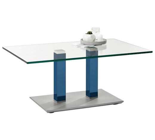 COUCHTISCH in Metall, Glas 110/70/46-65 cm - Blau/Edelstahlfarben, Design, Glas/Kunststoff (110/70/46-65cm)