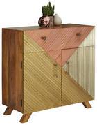 KOMMODE 90/90/40 cm - Silberfarben/Goldfarben, Natur, Holz/Metall (90/90/40cm)