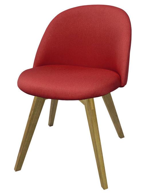 STUHL Flachgewebe Eiche massiv Rot - Rot, Trend, Holz/Textil (50/78/53cm) - Carryhome