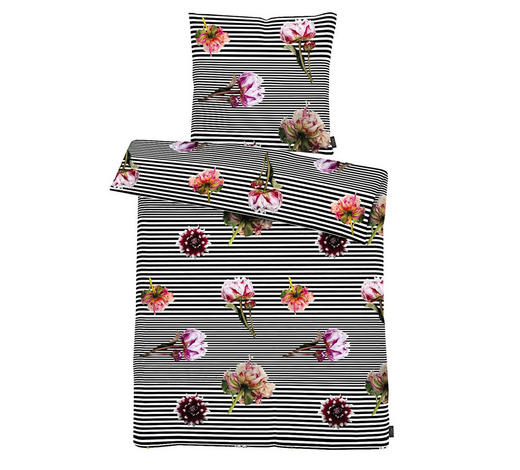 BETTWÄSCHE Satin Multicolor, Schwarz, Pink  - Pink/Multicolor, Trend, Textil (155x220cm) - Ambiente