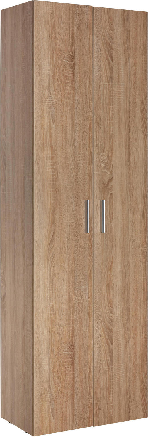 MEHRZWECKSCHRANK Melamin Eichefarben - Eichefarben/Alufarben, Design, Holzwerkstoff/Kunststoff (60/192/33,6cm) - Carryhome