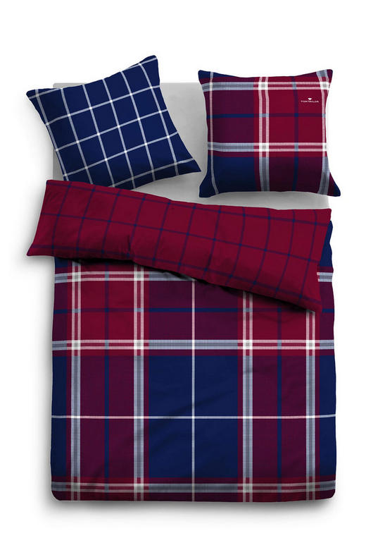 BETTWÄSCHE Satin Blau, Lila, Rot, Weiß 155/220 cm - Blau/Lila, KONVENTIONELL, Textil (155/220cm) - Tom Tailor