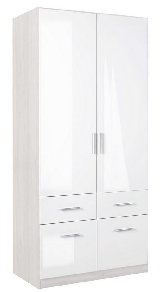 DREHTÜRENSCHRANK 2-türig Weiß - Alufarben/Weiß, Design, Holzwerkstoff/Kunststoff (91/210/54cm) - Carryhome