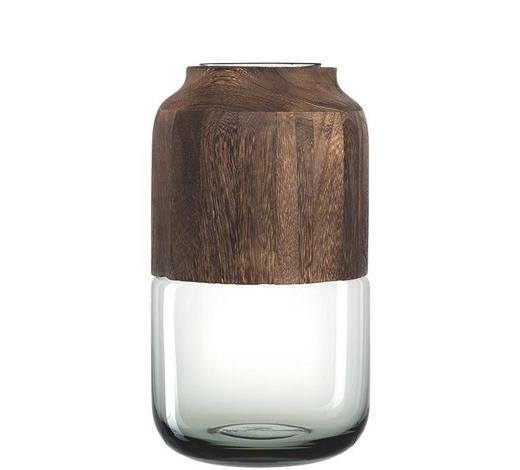 VASE 32 cm - Braun/Grau, KONVENTIONELL, Glas/Holz (32cm) - Leonardo