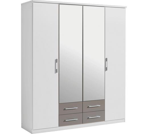 FALTTÜRENSCHRANK in Grau, Weiß - Silberfarben/Weiß, KONVENTIONELL, Glas/Holzwerkstoff (181/199/56cm) - Boxxx