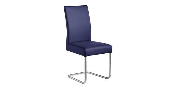 SCHWINGSTUHL Lederlook Blau, Edelstahlfarben - Blau/Edelstahlfarben, Design, Textil/Metall (48/99/69cm) - Valnatura