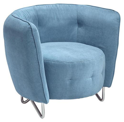 SESSEL Velours Blau - Blau/Chromfarben, Design, Textil (83/66/69cm) - Carryhome