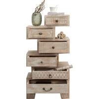 KOMMODE in teilmassiv Mangoholz Naturfarben, Weiß - Bronzefarben/Naturfarben, Trend, Holz/Holzwerkstoff (58/118/40cm) - Ambia Home