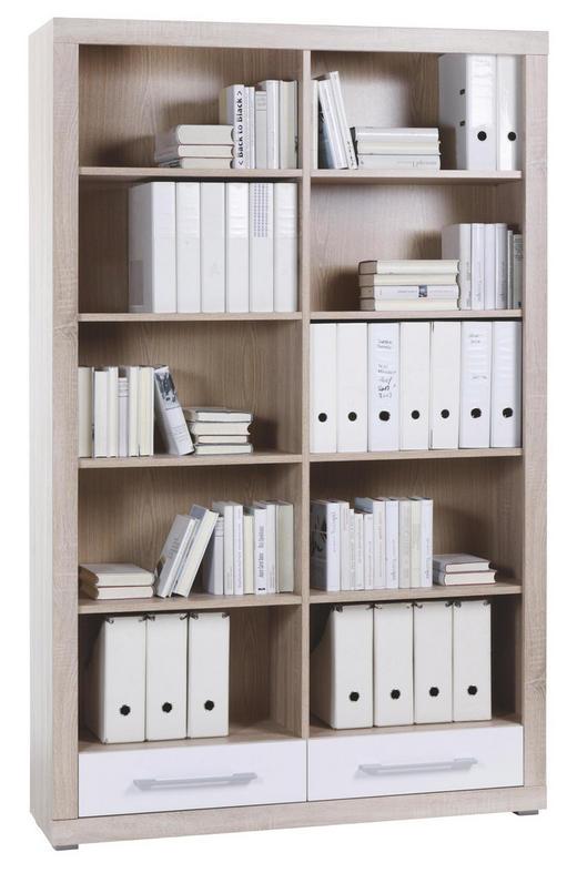 REGAL Sonoma Eiche, Weiß - Alufarben/Weiß, Design, Holz/Kunststoff (124/198/36cm) - CANTUS