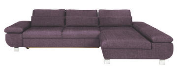 WOHNLANDSCHAFT Lila Webstoff - Chromfarben/Lila, Design, Textil/Metall (313/203cm) - Venda