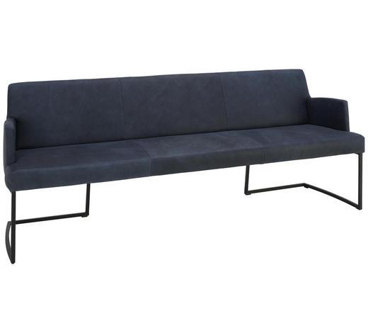 SITZBANK 218/87/66 cm  in Schwarz, Dunkelblau - Schwarz/Dunkelblau, Design, Leder/Metall (218/87/66cm) - Joop!
