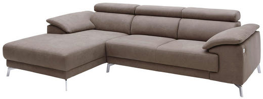 WOHNLANDSCHAFT in Textil Fango - Chromfarben/Fango, Design, Textil/Metall (175/268cm) - Pure Home Lifestyle
