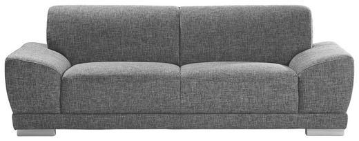 DREISITZER-SOFA Webstoff Dunkelgrau - Dunkelgrau/Silberfarben, Design, Holz/Textil (218/78/97cm) - CARRYHOME