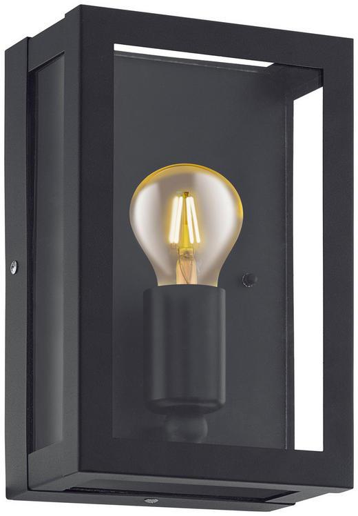 AUßENLEUCHTE Klar, Schwarz, Zinkfarben - Klar/Zinkfarben, Basics, Glas/Metall (17/26cm)