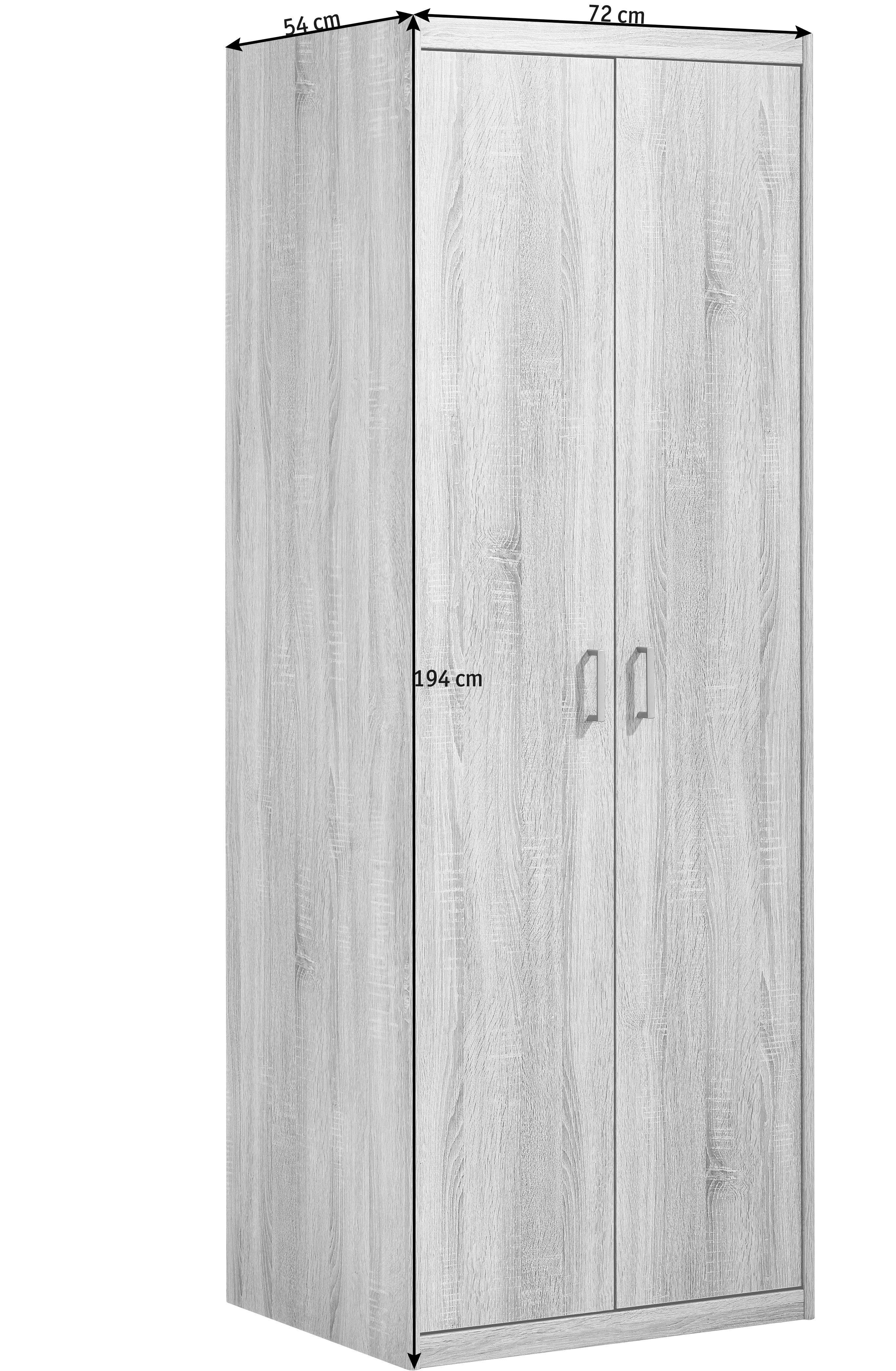 ORMAR ZA ODJEĆU - boje hrasta/boje srebra, Konvencionalno, drvni materijal/plastika (72/194/54cm) - CS SCHMAL