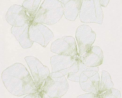 Vliestapete  mit Blumenmuster 10,05 m - Creme/Hellgrün, Basics, Textil (53/1005cm)