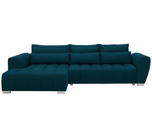 WOHNLANDSCHAFT in Textil Petrol - Silberfarben/Petrol, MODERN, Kunststoff/Textil (218/304cm) - Carryhome