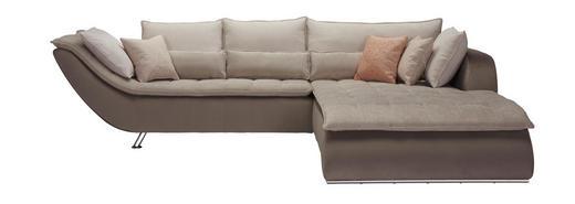 WOHNLANDSCHAFT Beige, Taupe Webstoff - Taupe/Sandfarben, Design, Textil/Metall (300/220cm) - Hom`in