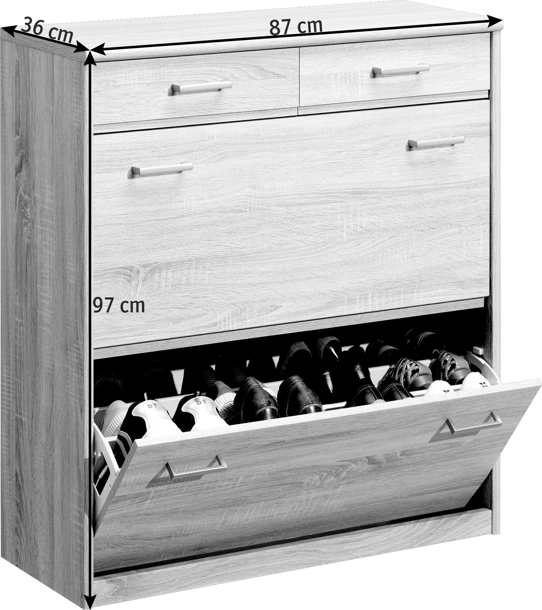 SKOSKÅP MED LUCKOR - silver/ekfärgad, Klassisk, träbaserade material/plast (87/97/36cm) - CS SCHMAL