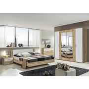 SCHLAFZIMMER In Eichefarben, Weiß   Eichefarben/Weiß, Design,  Glas/Holzwerkstoff (