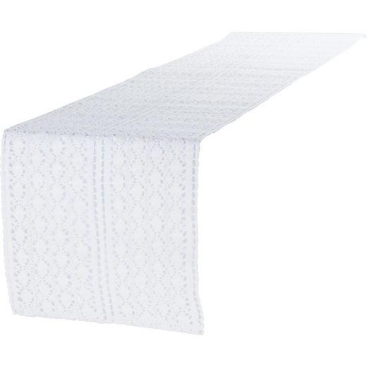 TISCHLÄUFER Textil Weiß 30/140 cm - Weiß, Basics, Textil (30/140cm)