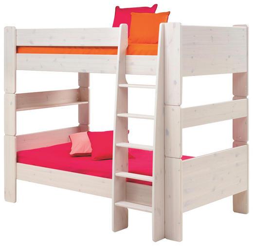 ETAGENBETT Kiefer massiv 90/200 cm Weiß - Weiß, Design, Holz (90/200cm) - Carryhome