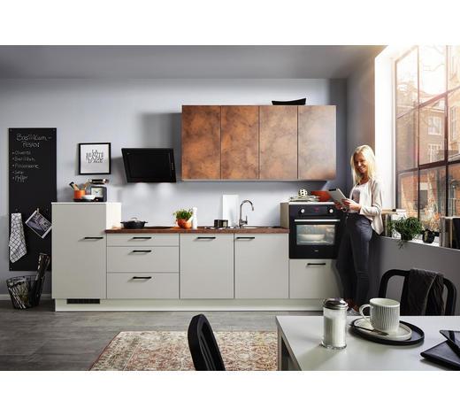 KUCHYŇSKÝ BLOK - světle šedá/hnědá, Design, kompozitní dřevo (330cm) - Xora