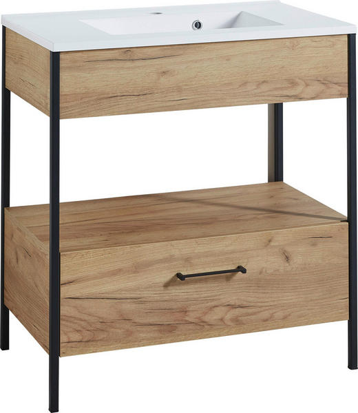 WASCHTISCHUNTERSCHRANK Eichefarben - Eichefarben/Schwarz, Design, Keramik/Holzwerkstoff (81/86/47cm) - Xora