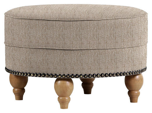 HOCKER in Textil Hellbraun - Hellbraun/Eichefarben, Design, Holz/Textil (77/43/cm) - Carryhome