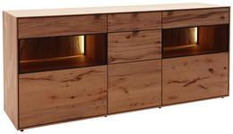 SIDEBOARD Kernbuche massiv matt, lackiert, gebürstet, gewachst Buchefarben  - Anthrazit/Buchefarben, Design, Glas/Holz (185/81/49cm) - Valnatura