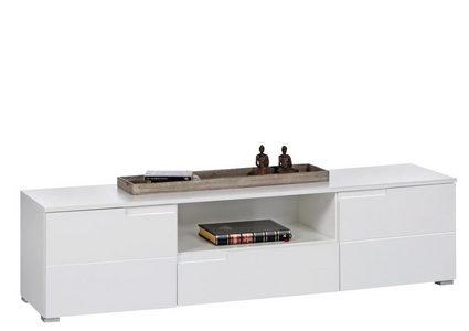 MEDIABÄNK - vit/silver, Design, träbaserade material/plast (165/42/40cm) - Carryhome