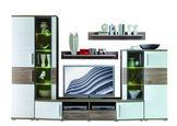 DNEVNI REGAL,  bela, hrast - bela/hrast, Design, umetna masa/steklo (296/198/50cm) - Xora