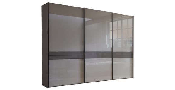 SCHWEBETÜRENSCHRANK in Braun, Grau  - Schieferfarben/Dunkelgrau, Design, Glas/Holzwerkstoff (250/217/67cm) - Dieter Knoll