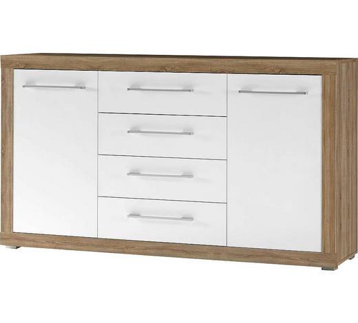 KOMMODE Glanz Weiß, Sonoma Eiche  - Silberfarben/Weiß, KONVENTIONELL, Holzwerkstoff/Kunststoff (155/88/40cm)