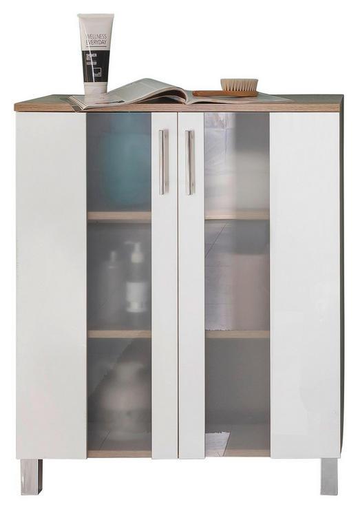 UNTERSCHRANK Weiß - Chromfarben/Eichefarben, Design, Glas/Holzwerkstoff (65/80/31cm) - Xora