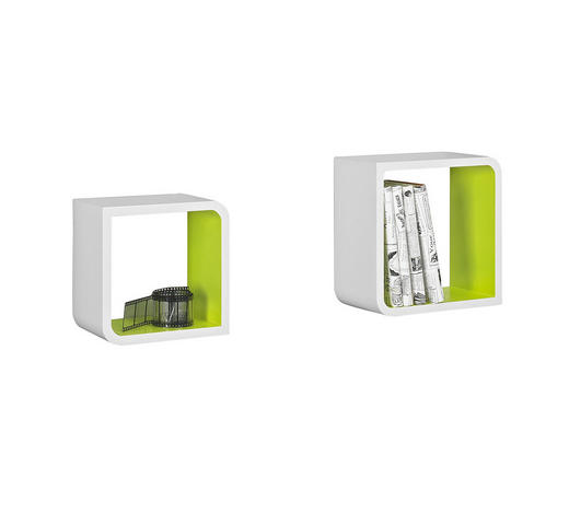 WANDREGALSET 2-teilig Grün, Weiß  - Weiß/Grün, Design (28/28/15cm) - Boxxx