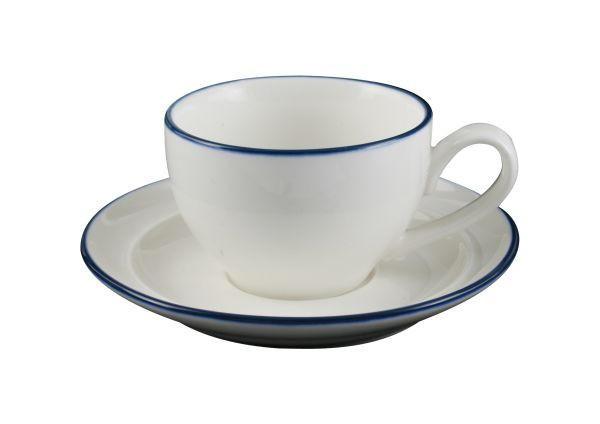 TEKOPP MED FAT - vit/blå, Klassisk, keramik - Landscape