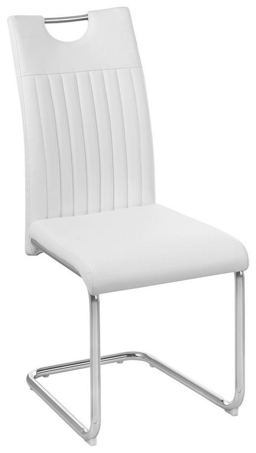 SCHWINGSTUHL in Metall, Textil Chromfarben, Weiß - Chromfarben/Weiß, Design, Textil/Metall (43/96/58,5cm) - Carryhome