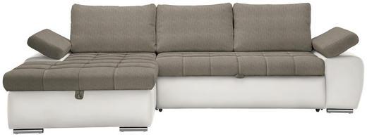 WOHNLANDSCHAFT in Textil Hellbraun, Weiß - Hellbraun/Weiß, Design, Kunststoff/Textil (175/271cm) - Xora