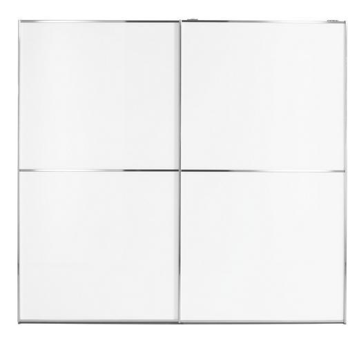 SCHWEBETÜRENSCHRANK in Weiß - Chromfarben/Weiß, Design, Glas/Holzwerkstoff (240/223/69cm) - Visionight