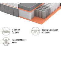 GEL-TASCHENFEDERKERNMATRATZE Primus 310 TFK 90/200 cm 26 cm - Dunkelgrau/Weiß, Basics, Textil (90/200cm) - Schlaraffia